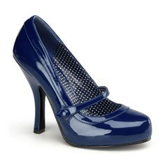 Navy Blue Sailor Platform Mary Janes 50s Pinup Heels Shoes size 5 6 7 8 9 10 11