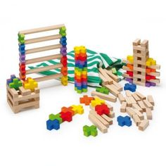 Erzi Toys Building Log Toy in a bag - 150 pieces (43120) | 4014722431208 | Wooden Toys | Educational & Haba Toys | Toys For Babies & Kids | Early Learning | Baby Toys Shop | Maths Games