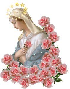 nossa senhora...nas mãos que oferecem rosas ... -