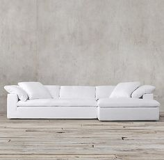 Preconfigured Cloud Track Arm Slipcovered Right-Arm Chaise Sectional