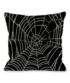 Loving this Black & White Spiderweb Throw Pillow on #zulily! #zulilyfinds