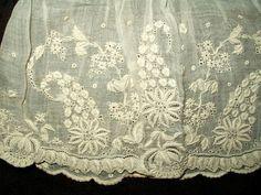 Antique Victorian Civil War Whitework Embroidery Muslin Undersleeves