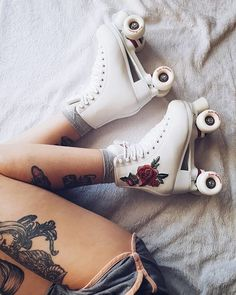 Have we chosen our favourite skates yet? This week you'll be seeing lots of photos of our incredible black and gold Retro Roller Skates, Roller Skate Shoes, Quad Roller Skates, Roller Derby, Roller Skating, Dr Shoes, Sock Shoes, Cute Shoes, E Skate