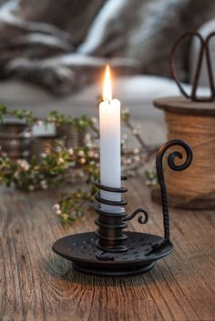 Nordic Iron Candle Holder - Black Wrought Iron - Holds one standard candle Scandinavian Christmas Ornaments, Swedish Christmas, Wrought Iron Candle Holders, Blacksmith Projects, Outdoor Christmas, Christmas Candle, Candlesticks, Blacksmithing, Primitive Candles