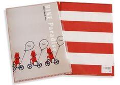 Bike A4 Clear File - Kimono Daisy Japanese Stationery, Filing, Daisy, Bike, A4, Kimono, Bicycle, Margarita Flower, Daisies