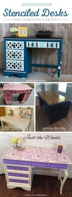 Cutting Edge Stencils shares DIY painted and stenciled desk ideas.   http://www.cuttingedgestencils.com/craft-stencils-furniture-stencils.html?utm_source=JCG&utm_medium=Pinterest%20Comment&utm_campaign=Craft%20and%20Furniture%20Stencils   #furniture #stencils