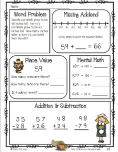 Homework pages for 2nd grade