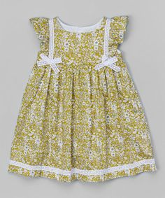 Loving this Green Angel-Sleeve Dress - Infant & Toddler on #zulily! #zulilyfinds