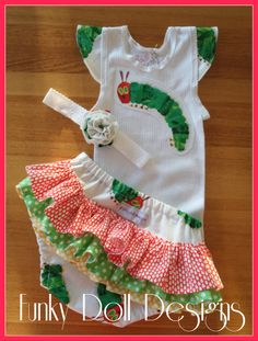 Hungry Caterpillar ruffled nappy cover set - Handmade by Funky Doll Designs