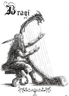 Bragi is the god of poetry, son of Odin and Frigga. Inspire bards and their songs recall the actions of the warriors. The runes are carved on his tongue. It is believed that the historical origin of the cult of Bragi could be in a ninth-century poet named Bragi Boddason, who after his death would have been elevated to the status of god. (Viking Blog elDrakkar.blogspot.com)