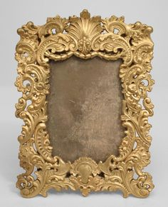 French Victorian Crafts | French Victorian style gilt metal rectangular easel picture frame with ...