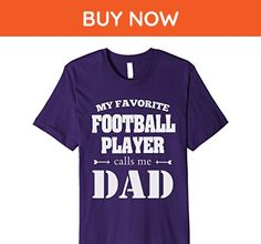 Mens Football Dad - My Favorite Football Player Calls Me Dad Medium Purple - Relatives and family shirts (*Amazon Partner-Link)