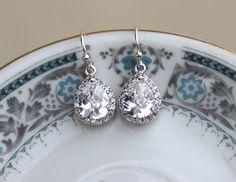 Silver Crystal Earrings Teardrop Clear Jewelry by laalee on Etsy, for the bride :)