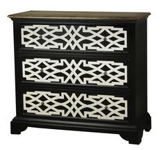 Pulaski | Home Meridian - A raised lattice pattern in bright white makes a compelling counterpoint to the deep black finish on this three-drawer accent chest.