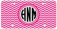 Personalized Monogrammed Chevron Hot Pink License Plate Custom Car Tag L365