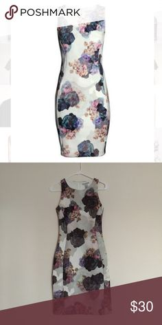 H&M floral pastel sleeveless bodycon dress XS Excellent condition. Worn once! Zips in back. Bundle to save 25%! H&M Dresses Strapless