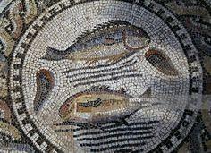 Fish, mosaic in the Roman city of Volubilis (UNESCO World Heritage List, 1997), Morocco. Roman civilisation, 2nd-3rd century.