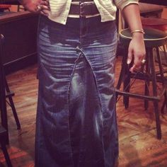 Nicole Barton made the skirt following my tut on reconstructing jeans into a maxi!  www.mimigstyle.com
