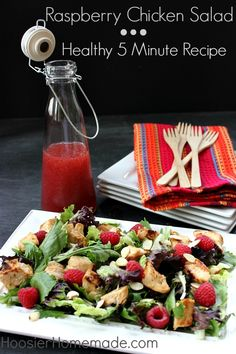 Raspberry chicken salad that takes only 5 minutes to make!