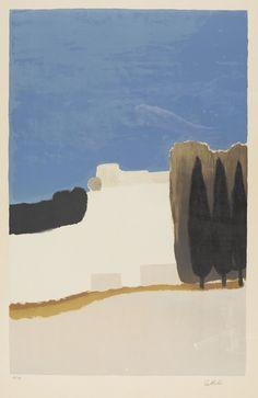 CATHELIN, BERNARD  Abstrakte Landschaft  Farblithografie