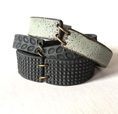 Industrial Inspired Cuff Bracelet in Black Gray and by HumanoClay
