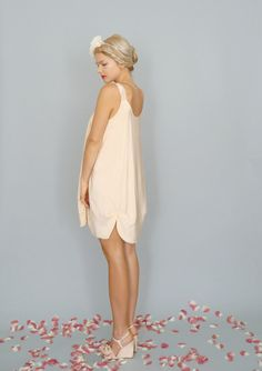Petal Blush Pink Silk crepe de chine petal hem aline by dahlnyc, $248.00