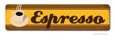 image of Espresso Large Metal Sign