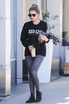 Ashley Benson wearing  Adidas Tubular Sneakers, Dior 'Technos' 57mm Sunglasses, Alo Yoga Moto Legging