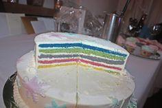 Hochzeitstorte mit Bisquit-Böden in Regenbogenfarben - Winter wedding cake with rainbow colour filling