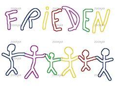 Kinder - Zeichnung - Schriftzug Frieden und Menschenkette