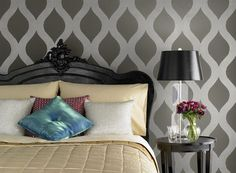 Tone-on-Tone Gray Bedroom. Love this stencil!