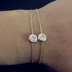 Gold / Rose Gold CZ Cubic Zirconia Thin Chain Dainty Bracelet Jewelry Gift 4 her | eBay