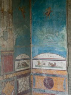 Photographic Print: Painted Frescoes, Pompei Poster by Walter Bibikow : Ancient Pompeii, Pompeii And Herculaneum, Capri, Painting Wallpaper, Wall Murals, Find Art, Framed Artwork, Art Decor, Painted Walls