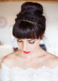 A chignon gets even chicer with the addition of braids. Wedding Hairstyle, Bridal Beauty