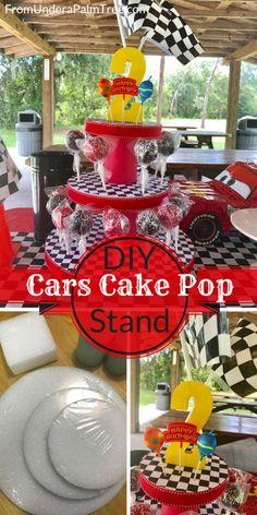 How do I make a Cars themed cake pop stand- cars theme birthday party | cars themed party decor | DIY cars themed party decor | Cars birthday party decor | Cars themed cake pop stand | DIY cake pop stand | kids party |kids birthday | birthday party | birthday party decor | Disney Cars birthday theme | toddler birthday party | cars birthday | race car birthday | toddler birthday party | cake pop stand | DIY cake pop stand |