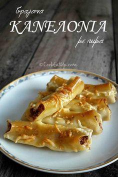 Τραγανά κανελόνια με κιμά ⋆ Cook Eat Up! Yams, Macaroni And Cheese, Bacon, Pork, Pasta, Meat, Chicken, Cooking, Breakfast