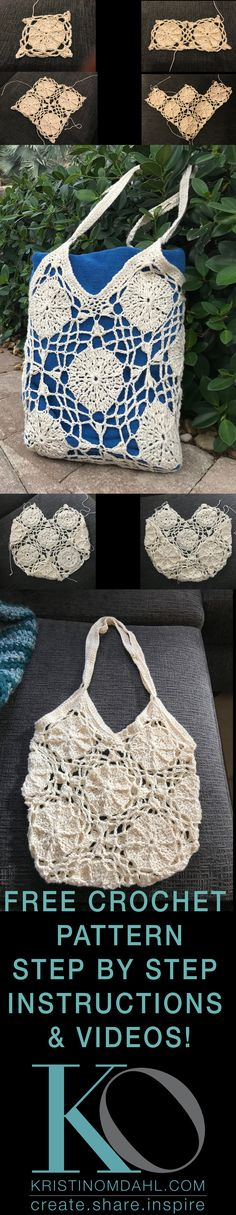 Bare Sand Dollar Motif Crochet Bag Free Pattern by Kristin Omdahl Joining motifs in a diamond formation adds visual interest and allows you to create shapes and dimensions you wouldn't have when joining them square. For example, the bottom of this bag is flat because of the placement of one
