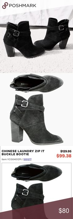 Black Suede Bootie $129 Black zip it Bootie with black suede and silver buckle detail. 3.5 inch block heel. Worn once and in MINT condition! Retail at $129 and on sale for $99. NO TRADES don't ask. Listed on merc for less and FREE shipping Chinese Laundry Shoes Ankle Boots & Booties