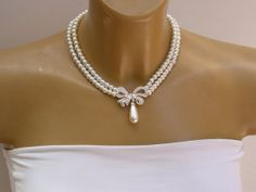 Two Strand Bridal Jewelry Wedding Drop Bow Light by roomofyourown, $98.00