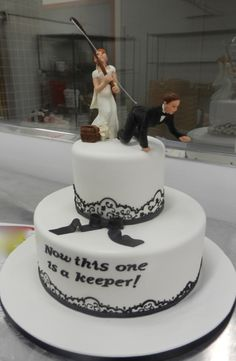 He's A Keeper Engagement Cake