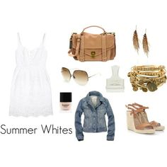 Jean Jackets never will go out of style, no matter how many times fashions have tried to do so after the 80's.  And white summer dresses? Always a good idea. Adore. Love This!