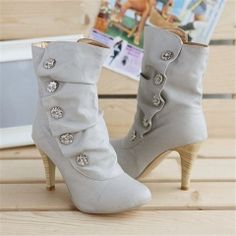 shoe warehouse boots on sale at reasonable prices, buy ENMAYLA Women Shoes On Sale Winther Boots New Sexy Style High Heel PU Mid Calf Boots Ladies' Lovely Fashion Snow Shoes 3 Colors from mobile site on Aliexpress Now! Leather High Heels, High Heel Boots, Heeled Boots, Bootie Boots, Shoe Boots, Shoes Heels, Ankle Boots, Grey Boots, Women's Boots