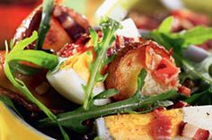 Sałatka z bekonem i rukolą Tacos, Chicken, Meat, Ethnic Recipes, Food, Essen, Meals, Yemek, Eten