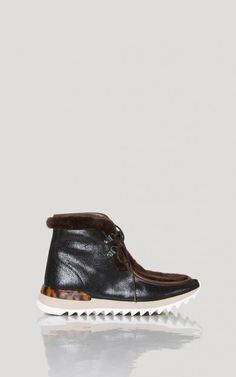 Chocolate shearling and leather combo lined lace-up boot on ripple sole.</p></br>**This item is FINAL SALE**</p></br> #rachelcomey