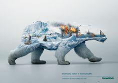 Robin Wood: Polar Bear - Destroying nature is destroying life. | Advertising Agency: Grabarz & Partner, Germany; Creative Director: Florian Kitzing