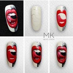 Nail Art Designs Videos, Nail Polish Designs, Rose Nail Art, Nail Art Diy, Halloween Nail Designs, Halloween Nails, Graffiti Nails, Pop Art Nails, Posh Nails