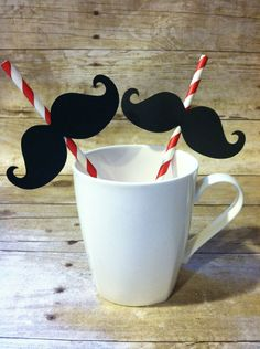 25 MUSTACHE STRAWS - Moustache Party Straws with flags, choose your color - Photo Booth Prop, Paper Straws, Moustache, Striped, photo prop.