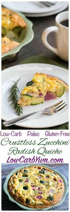 Are you following a low carb way of eating, but also try to follow a Paleo lifestyle? Try this yummy Paleo crustless zucchini radish quiche. LCHF Keto Atkins THM