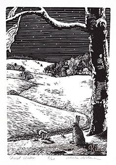 Winter Snow Landscape with Rabbit - Original Wood Engraving Art - Landscape Art Print - Snow, Scandinavian illustration. I had a vision in my head of a snowy winter landscape that I would love to go take a walk in on a quiet night. We live in TX so this is only a dream from past winters. I think it'll bring back good memories framed on our wall while sitting with a hot cup of tea under it. The landscape was carved by hand with engraving tools on a resin plate and then each print…