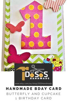 This fun Baby Birthday Greeting Card has been designed to brighten any toddlers birthday with a colourful number one surrounded by bright butterfly's and cupcake designs on a green and white background card. This Unique Handmade Cards will make any toddler smile!!!